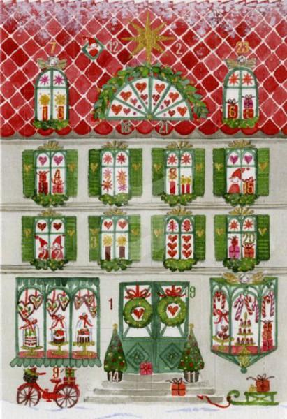 Adventskalender-Karte Weihnachtshaus, 3er Pack