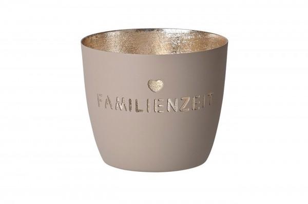 """Madras Windlicht M """"Familienzeit"""" sandstone/gold"""