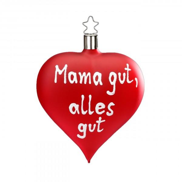 "Inge-Glas Herz-Anhänger ""Mama gut, alles gut"" rot matt"