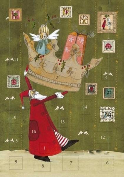 Adventskalender Karte Weihnachtskrone