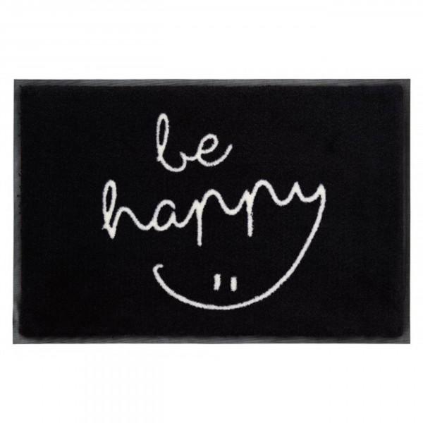 Fussmatte - Gift Company, be happy, schwarz/weiß