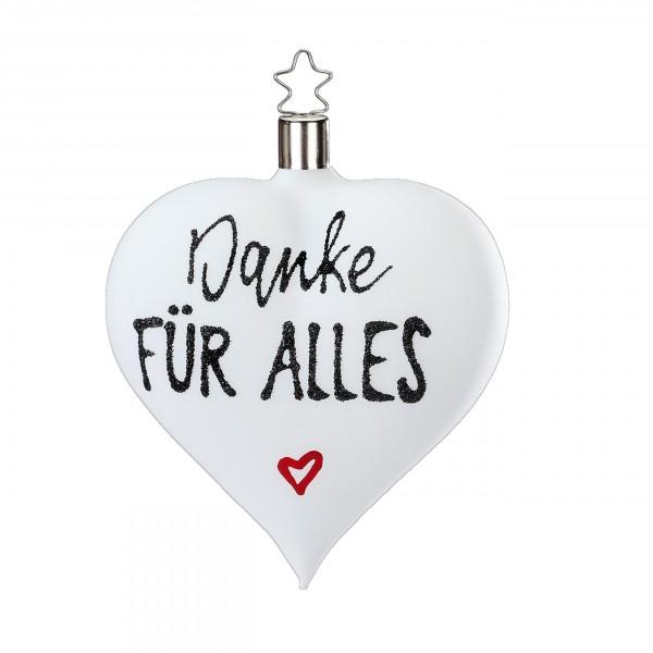 """Inge-Glas Herz-Anhänger """"Danke für alles"""" weiß matt"""
