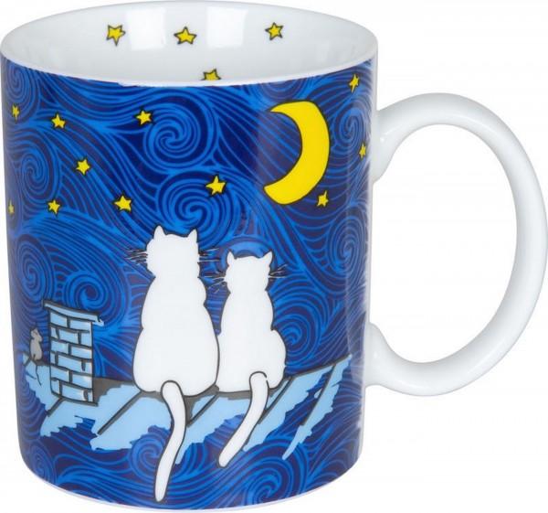 Könitz Becher - Katze bei Nacht