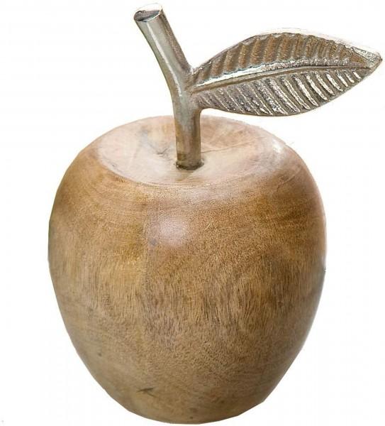 Gilde - Apfel natur mit Alu Blatt und Stengel, 18cm