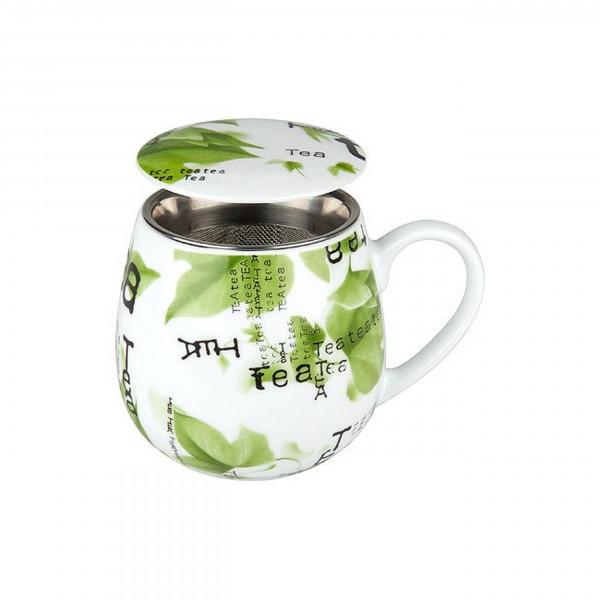 Kuschelbecher Tea Collage, mit Sieb und Deckel