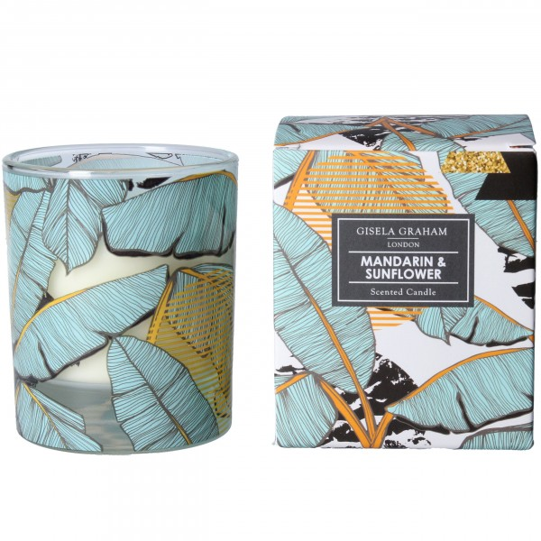 """Gisela Graham - Duftkerze """"Mandarin & Sunflower"""" - im Palm-Blatt Design"""