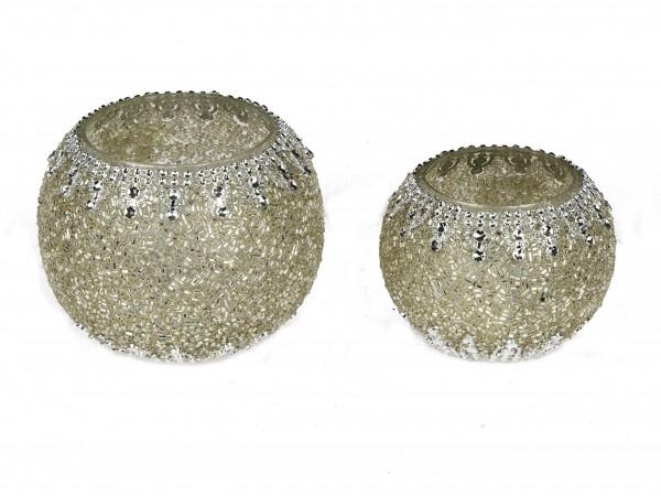Formano - Teelicht Wili mit Strasssteinen (silber, 12 cm)