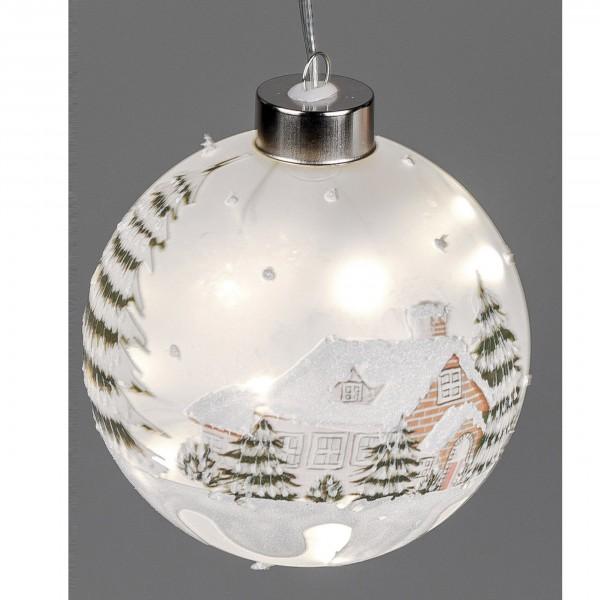 Formano LED-Kugel Wintertraum - handbemalt mit Timer Funktion, ca. 12 cm