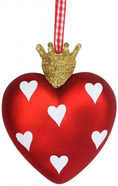 Gisela Graham Anhänger, Weihnachtsherz mit Goldkrönchen