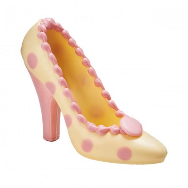 Schokoladen Pumps High Heel - Creme Creme mit rosa Punkten, 120g