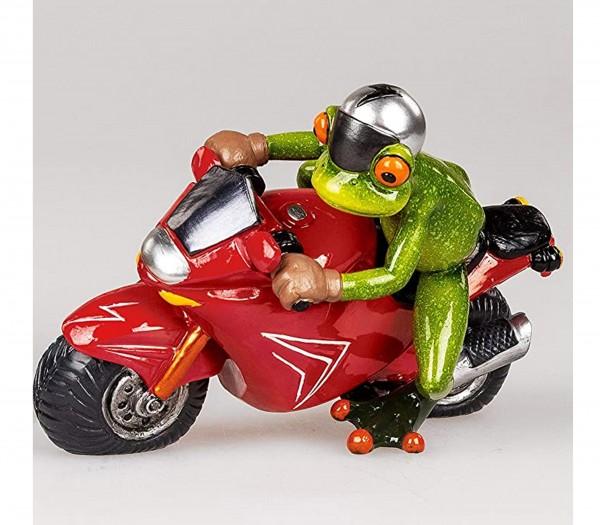 Formano - Frosch-Mann auf rotem Motorrad