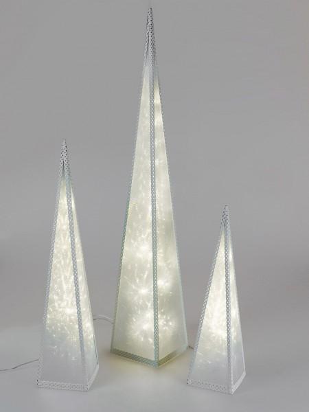 Formano Deko-Pyramide creme, aus Metall, 90 cm, mit 24 LEDs, 1 Stück, mit Drehmotor