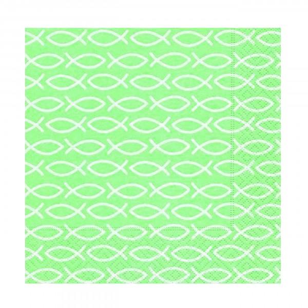 Serviette Kommunion/Konfirmation, Fische grün