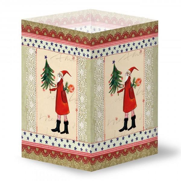 Transparentleuchte, Nikolaus mit Tannenbaum