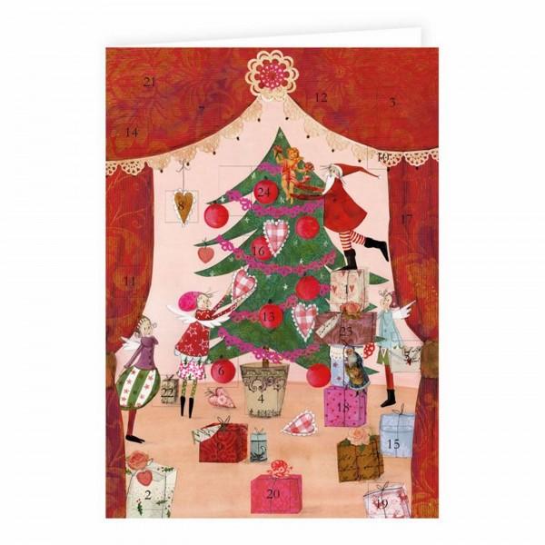 Adventskalender -Karte Weihnachtsvorhang