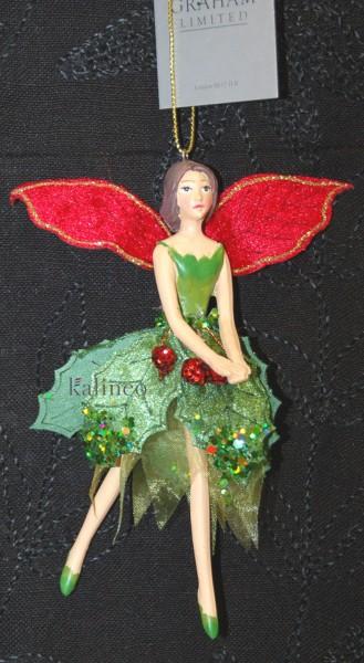 Gisela Graham Traumfee in grün-rot , 13cm