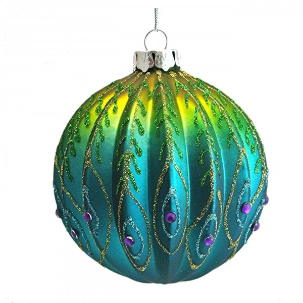 Gisela Graham - Weihnachtskugel/Ball - Ribbed Glass Peacock