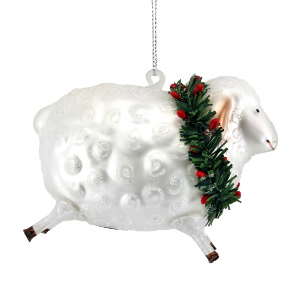 Gisela Graham Anhänger, Schaf mit Weihnachtskranz