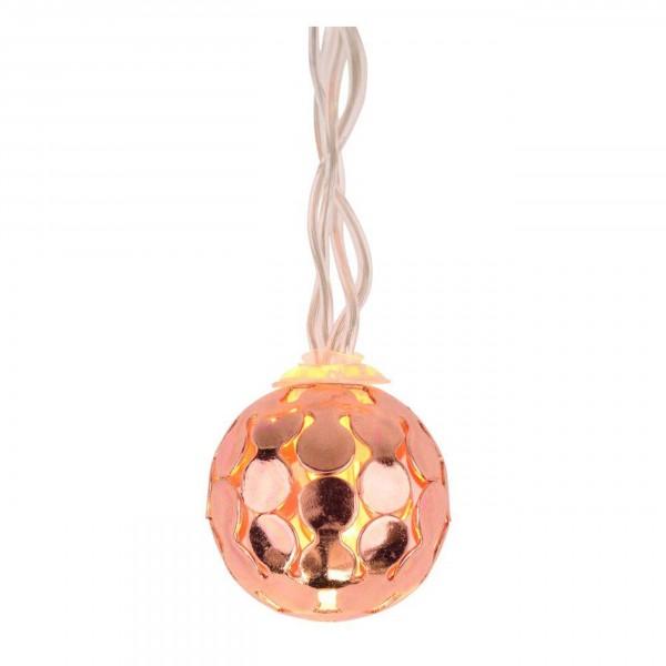 Gift Company Lichterkette LED batteriebetrieben, Ball geflochten, kupfer