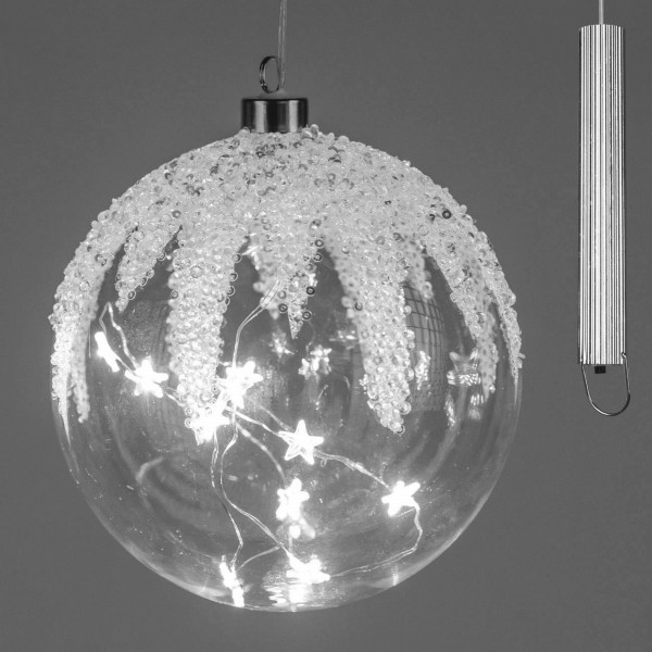 Formano LED-Kugel Glas, Winterzeit mit silber Elementen und Sternen, Timer Funktion, 15cm