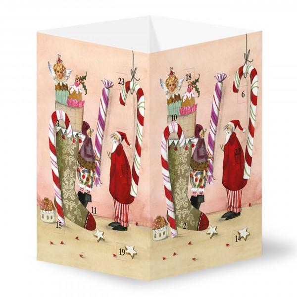 Silke Leffler - Adventskalender-Leuchte, Weihnachtsstiefel mit Zuckerstange