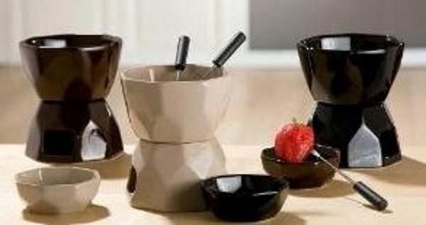 Gilde Keramik-Schoko-Fondue-Set, creme