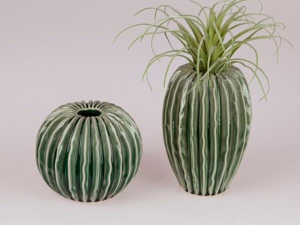 Formano Vase im Kakteendesign (Organic-grün, 20 cm, oval)