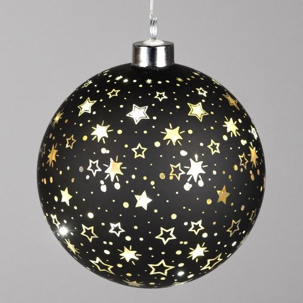 Formano LED-Kugel Festival-Sterne-schwarz, Timer Funktion, ca. 12 cm
