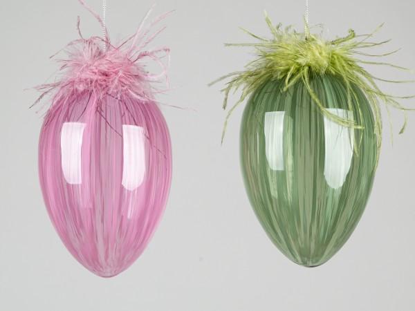 Formano - Glasei mit Federn zum Aufhängen. rosa, 15cm