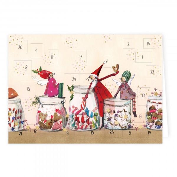 Silke Leffler - Adventskalender-Karte, Weihnachtsleckerei - 4er-Pack