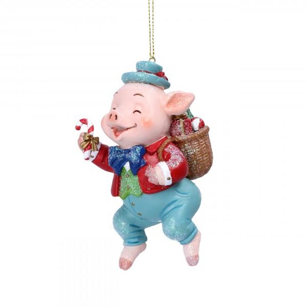 Gisela Graham - Anhänger, Schwein mit Einkaufskorb