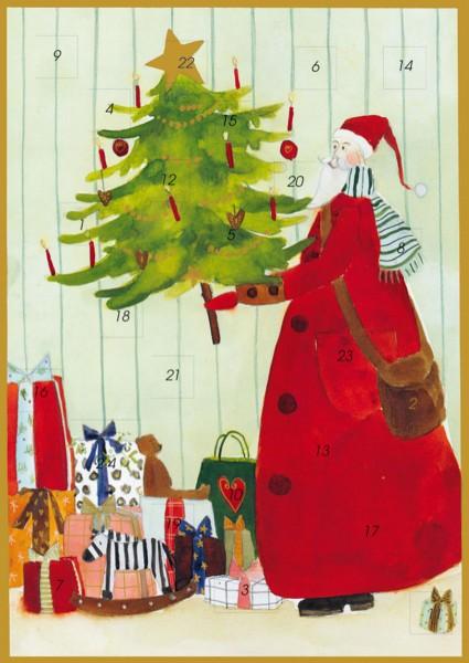 Adventskalender Karte Weihnachtsmann mit Tannenbaum