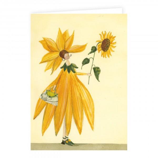 Silke Leffler - Doppelkarte mit Saatscheibe, Sonnenblume