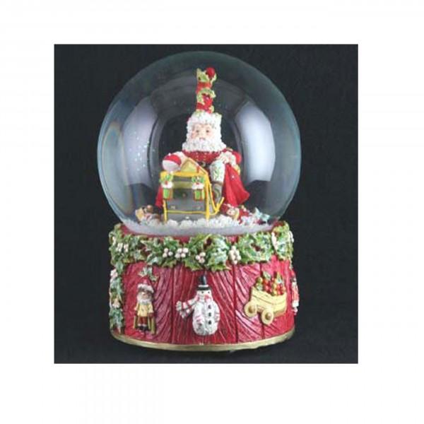 Spieluhr Schneekugel Weihnachtsmann mit Tannenbäumen