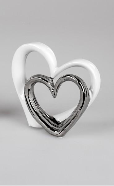 Formano Moderne Skulptur Herzen weiß/silber 18cm, silbernes Herz mittig