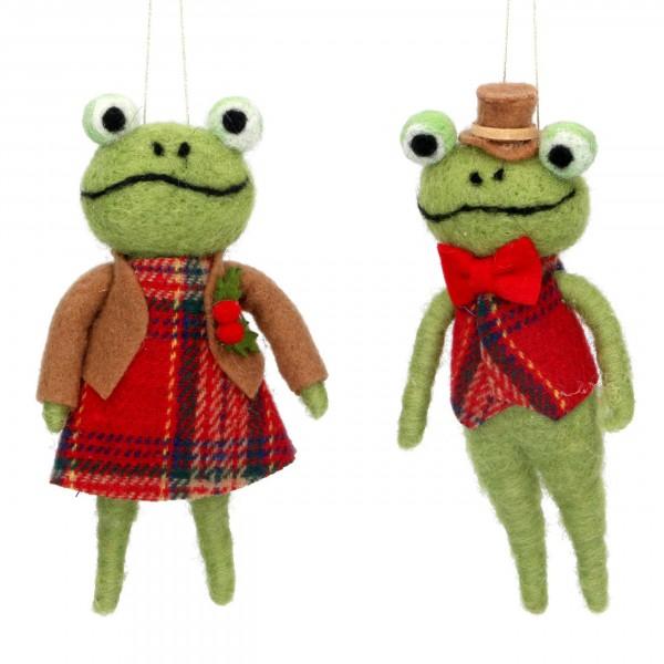 Gisela Graham - Wool Mix-Anhänger, Mr. und Mrs. Frog - 2er Set