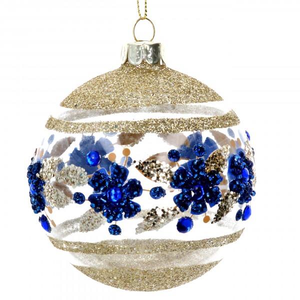 Gisela Graham - Weihnachtskugel/Ball - Flower blau/gold im 2er Set