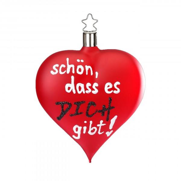 """Inge-Glas Herz-Anhänger """"Schön, dass es Dich gibt"""" rot matt"""