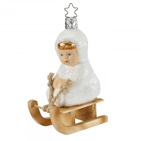 Inge-Glas Anhänger - Schneekind - Auf dem Schlitten 10,5 cm, Christbaumanhänger