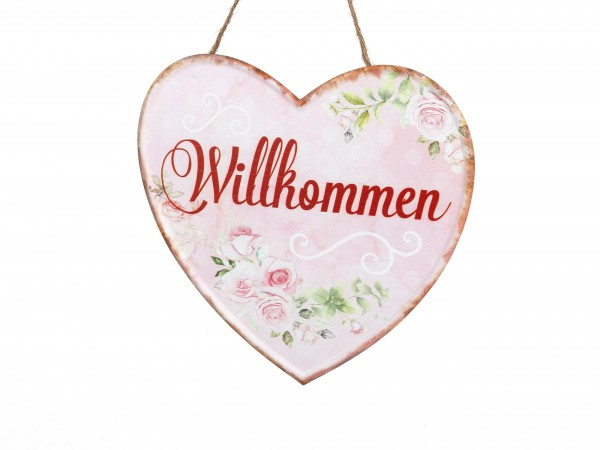 """Gartenschild - Metallschild - Herz """"Willkommen"""""""