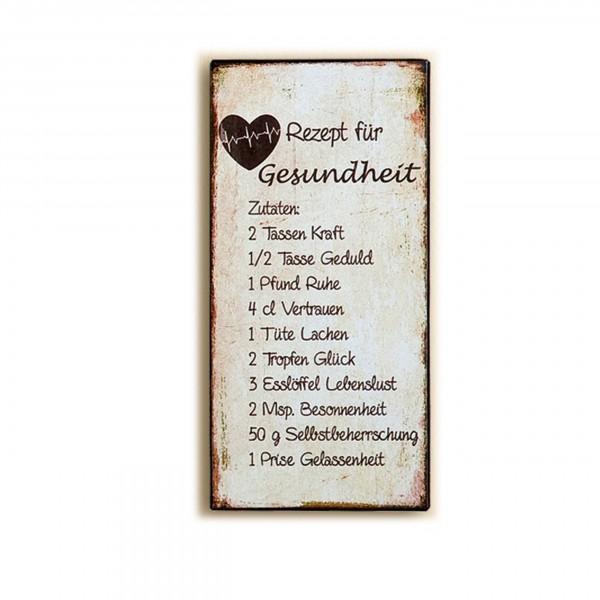 Metall-Schild-Rezept für Gesundheit