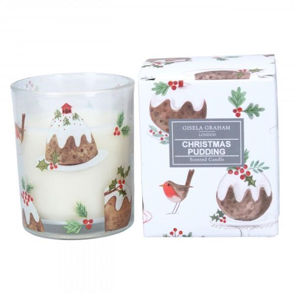 """Gisela Graham - Kleine Duftkerze """"Christmas Pudding"""" im weihnachtlichem Design"""