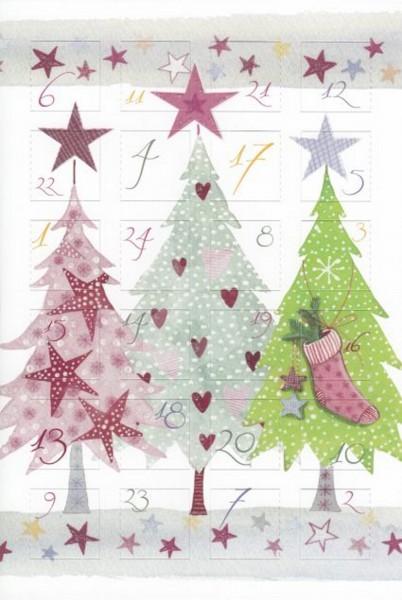 Adventskalender-Karte, Tannenbäume, 4er Pack