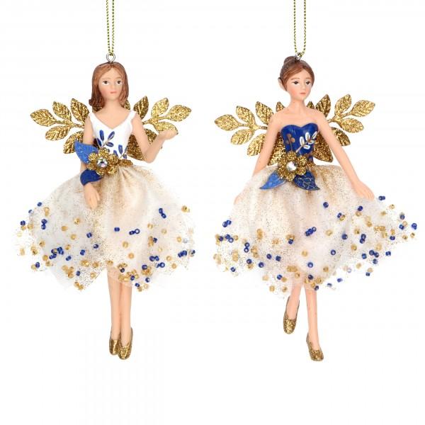 Gisela Graham, weiß-blaue Fee mit goldenen Flügeln und Perlen im 2er Set
