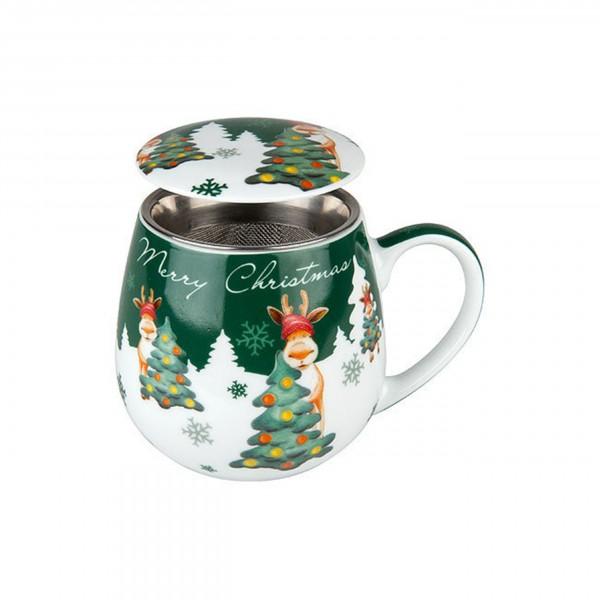 Kuschelbecher Merry Christmas - Weihnachtselch, mit Sieb und Deckel