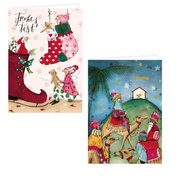 Silke Leffler - Weihnachtskarten - 6er Pack, Heiligen 3 Könige und Weihnachtsstiefel