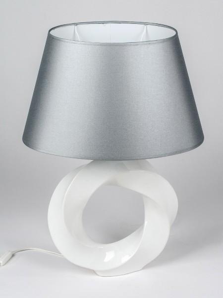 Formano Keramik-Tischlampe, Ring-gedreht H. 60cm weiß silber