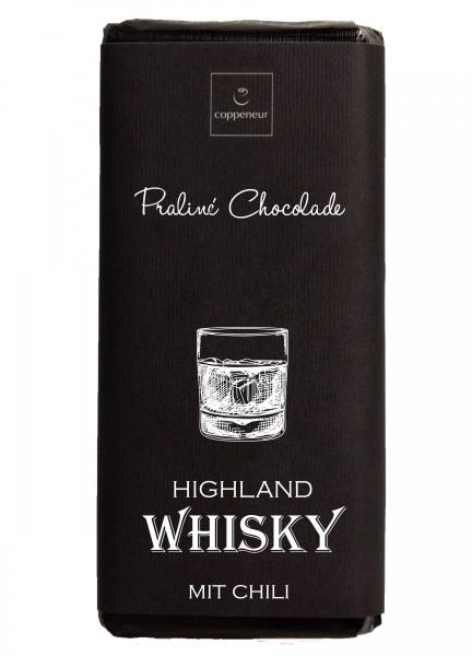 Handgeschöpfte Praliné-Chocolade mit Highland Whisky mit Chili