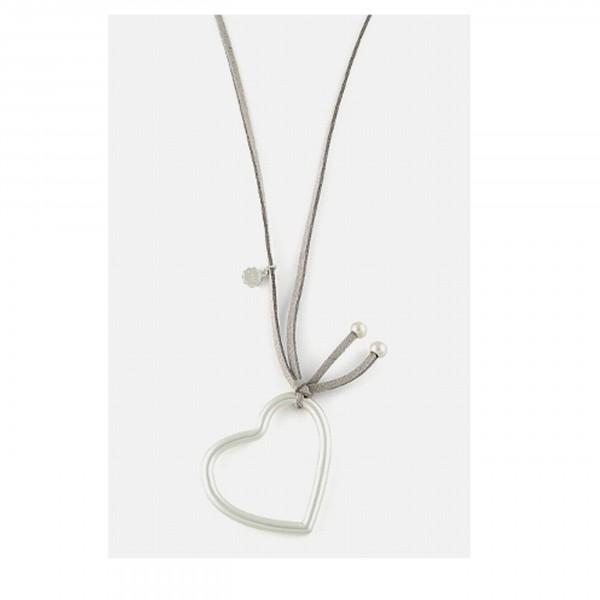 Velourband-Kette mit Herz, silbr
