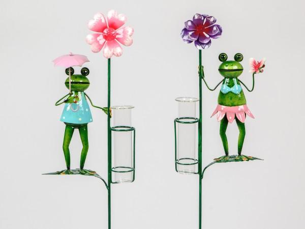 """Formano - Regenmesser Metall """"Frosch"""" 105cm, mit Blume (rosa oder lila)"""